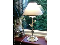 cream metal flower lamp & shade 46x26cm