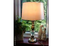 heavy brass table lamp & shade 50 x 34 cm