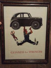 Framed Guinness 1945 newspaper advert