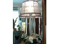 silver/white table lamp, shade & bulb 38x21cm