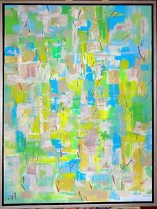 "30x40"" Original Art Painting Blue Green WATERLINE V.Koudelka Abstract Artwork Canada Canadian  framed"