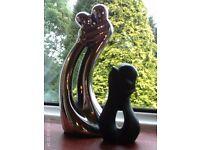 NEW 2 ceramic figurines 21 x 9 & 10 x 6 cm