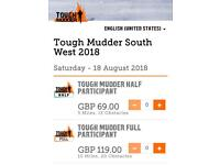 X4 tickets Tough mudder full south west (Bristol)
