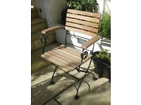 Set of 4 Garden Chairs, folding, wood and iron with armrests