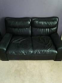 Genuine black leather couch