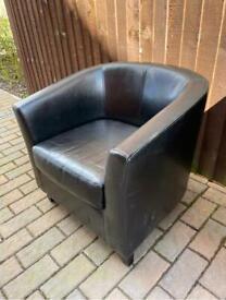 Black leather effect tub chair