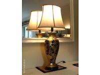 large tall table lamp with silk lined shade 83 x 43 cm