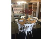 Handpainted pine extendable table & 4 chairs