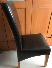 6 Dark brown faux leather dining chairs (4 dining chair covers)