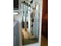 silver metal bevelled edge mirror 91 x 41 cm