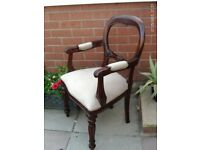 french / italian rococo style balloon backed chair