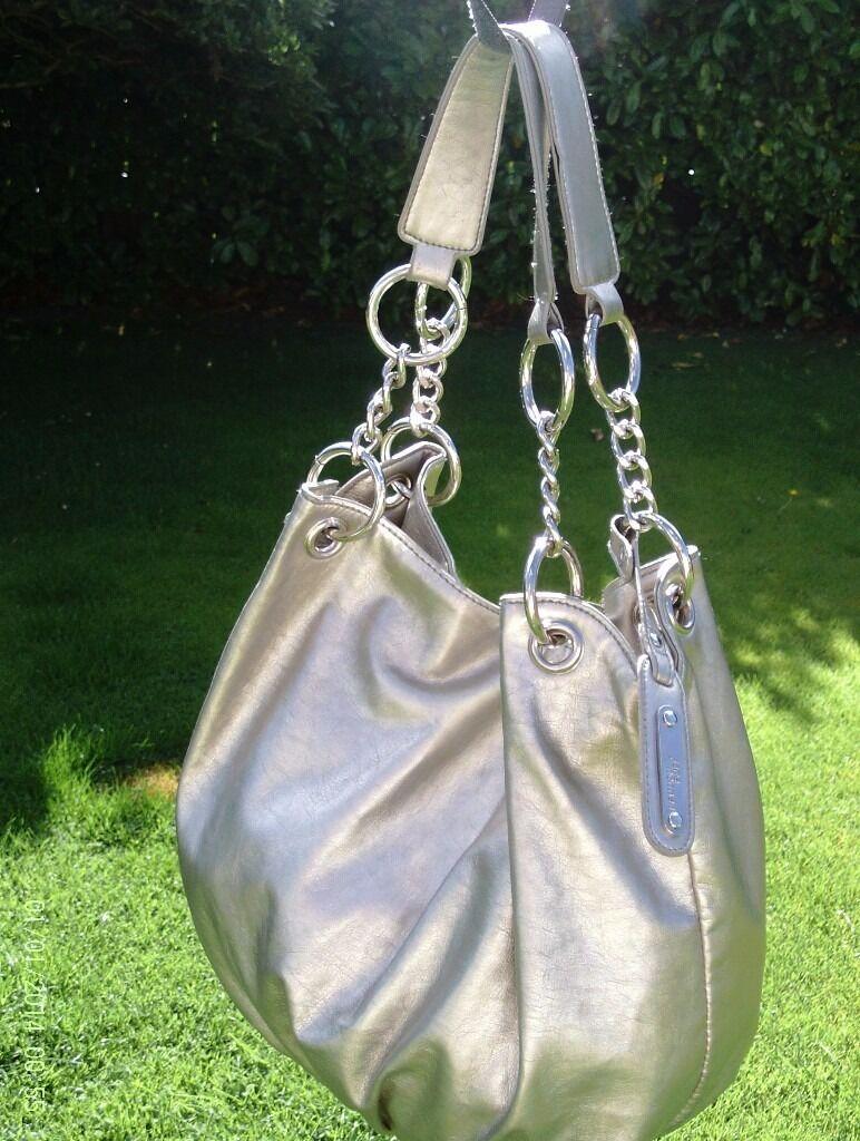 designer JANE NORMAN silver metallic shoulder bag