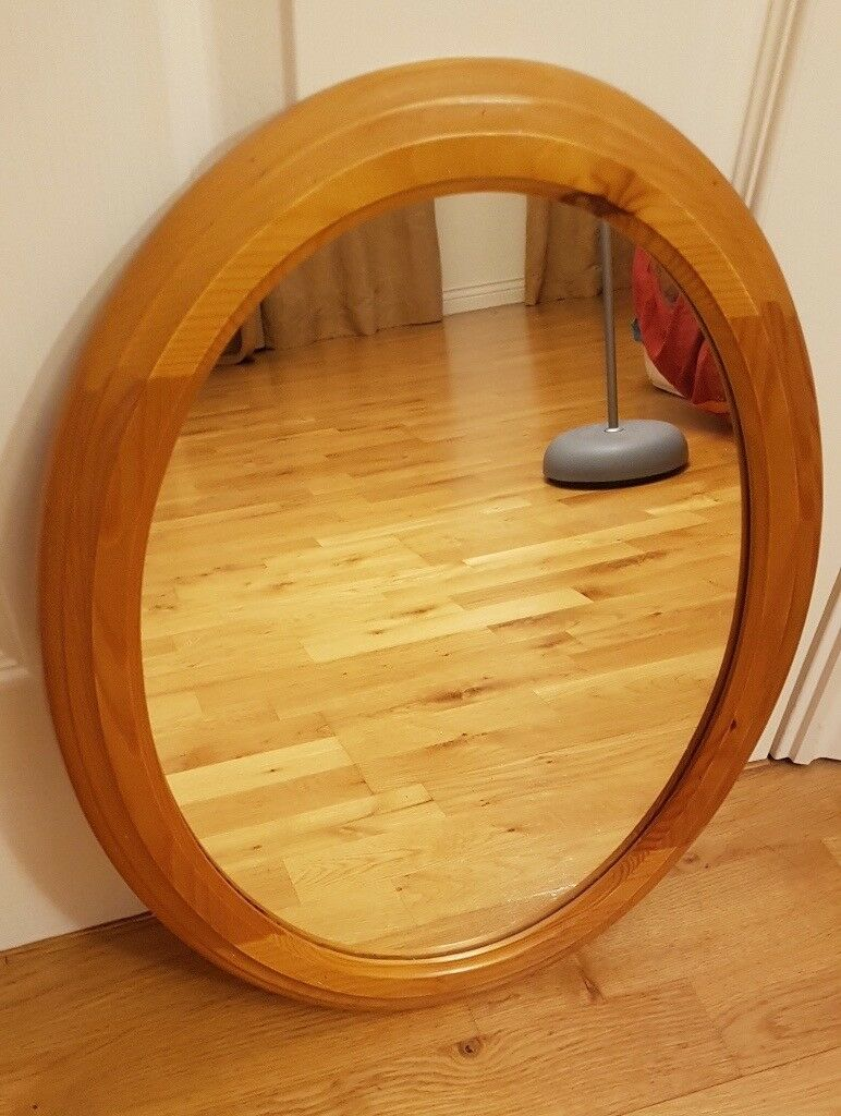 Large Round Oval Mirror Pine Wood Frame Hang Vertical Or Horizontal