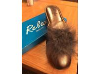 Ladies Relax Leather Slippers size 8