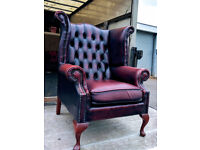 Chesterfield oxblood red queen anne highback chair DELIVERY AVAILABLE
