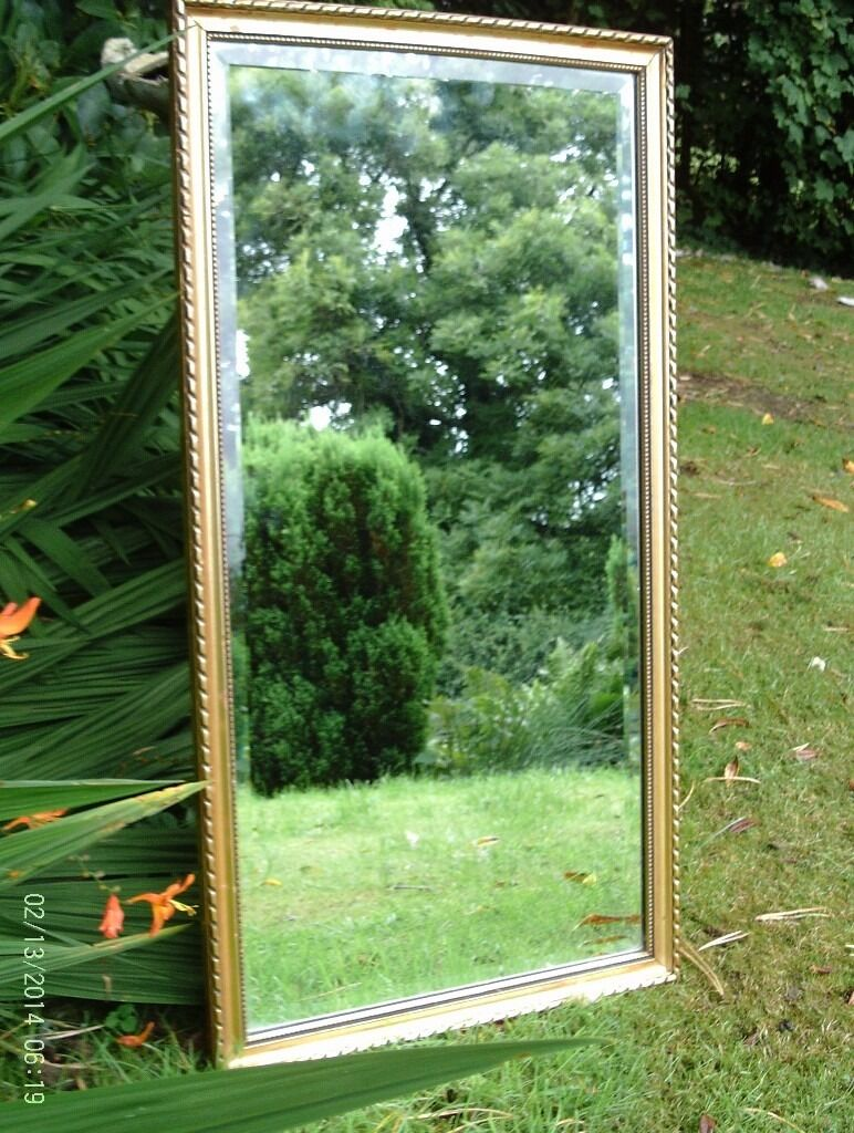 ANTIQUE GOLD ORNATE BEVELLED EDGE MIRROR 64 X 34 CM
