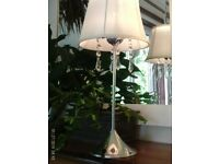 chrome/crystal table lamp, shade & bulb 44x20cm