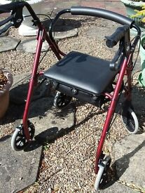 4 wheel rollator walking aid