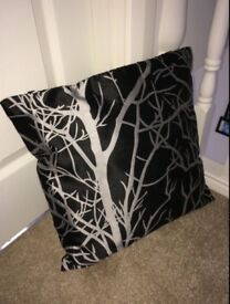 Silver Trees Black Cushion - 40cm x 40cm