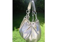 JANE NORMAN designer silver metallic shoulder bag