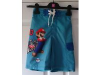 Next Boys Blue Mario Design Long Shorts Or Swim Shorts Age 5 To 6 Excellent Condition
