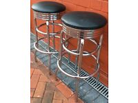 BAR STOOLS CHROME PAIR 30 INCHES HIGH BLACK UPHOLSTER TOP
