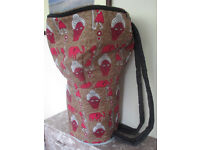 Large 14.5 Inch Head Djembe Drum Bag Brown African Fabric Padded Backpack Style New