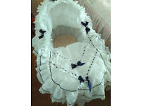 Moses Basket and Stand, White Broderie Anglaise Frill, Beautiful.