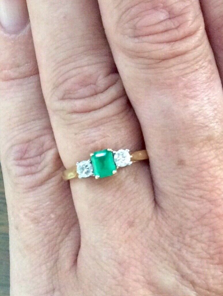 Engagement ring, Colombian emerald and diamond gold setting | in ...