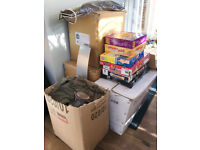 Over 5 boxes of household items for CAR BOOT SALE Kitchen Toys Games Wall hangings Ornaments