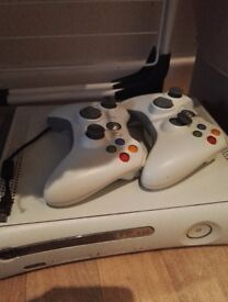 X box 360, 2 controllers, adapter, charging wire