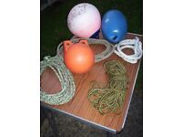 Boat fender, mooring buoy, net float, watersports towing line and other cordage odds & ends.