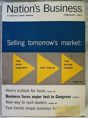 Nations Business Magazine February 1957 Vintage Economic News   Information