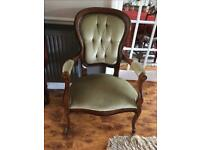Pair of antique Victorian upholstered button back open armchair