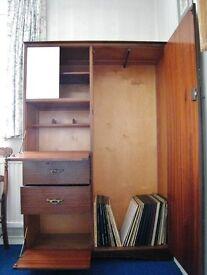 Vintage Retro 1950's Bedroom Unit Wardrobe Cupboard Drawers Desk Children's Teen's Student Storage