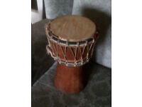 SMALL HAND CARVED WOODEN ANIMAL SKIN AFRICAN BONGO DRUM