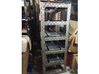 2 Freestanding Metal Garage Shelving with several shelves - approx 2m tall. Shops Warehouse fittings