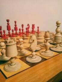 Rare antique 19th century stained red ivory chess set washington design