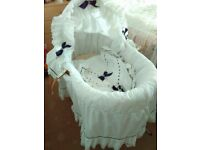 Moses basket and stand ..White