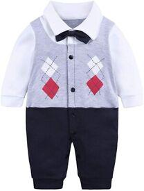 Kids Tales - Baby Boys Gentleman Romper Jumpsuit - 3-6 Months