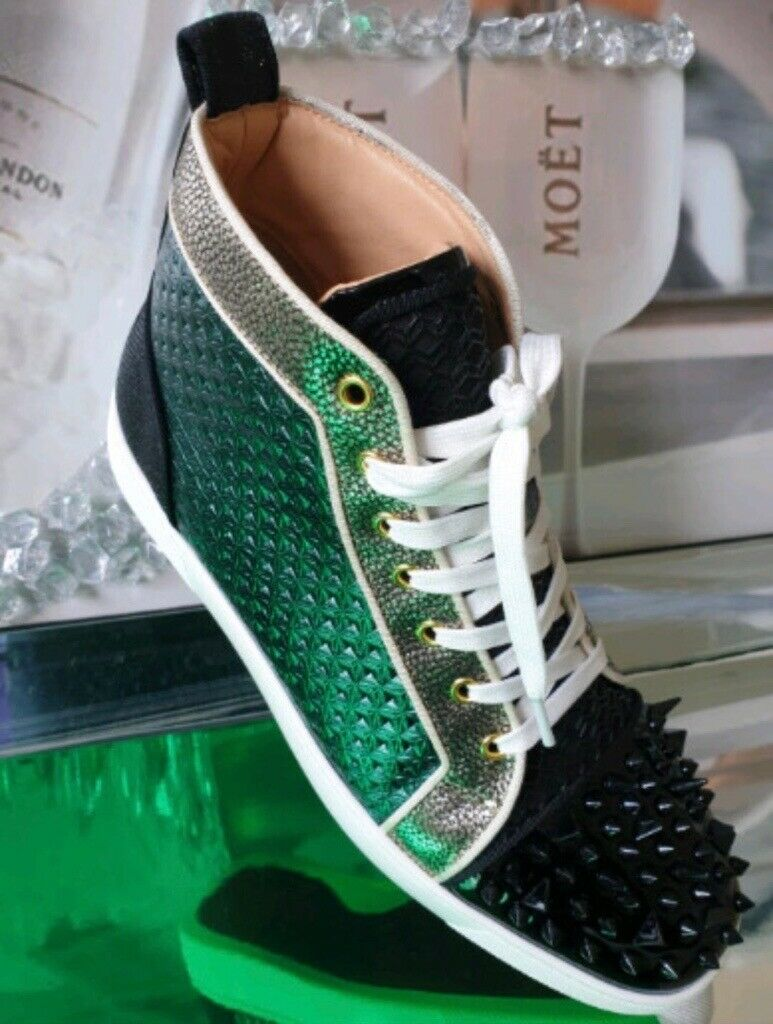 d7f47e952dc0 Christian Louboutin Black / Green Spike Trainers Sneakers Luxury Designer  Brand 100% Genuine