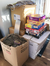 JOB LOT 5 LARGE BOXES HOUSEHOLD ITEMS, KITCHEN GOODS, CANDLE HOLDER KIDS GAMES ETC FOR CAR BOOT SALE