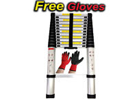 **FREE GLOVES** WITH NEW 3.8m ALUMINIUM MULTI PURPOSE TELESCOPIC EXTENDABLE LADDER EN-131 HOME WORK