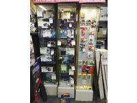 Lockable Tall Glass Display Cabinets (some with spotlights) - Retail Shop Display Fittings (ix)