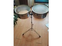 Set of timbales drums.