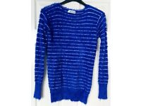 Royal blue white striped warm furry jumper top