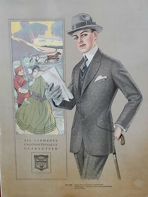 C 1920 LEYENDECKER Male Fashion Clothing PRINT LATCO LINE Chicago ILLinois CANE