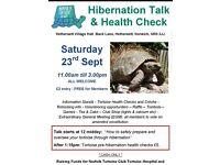 Tortoise pre-hibernation health check and talk