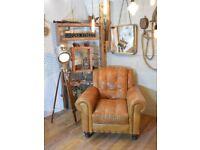 Vintage Leather Armchair Studs Tan Brown