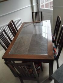 Dining table + 6 chairs with matching coffee table + nest of 2 tables.